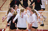 STANFORD, CA - November 15, 2017: Merete Lutz, Kathryn Plummer, Morgan Hentz, Jenna Gray, Audriana Fitzmorris, Meghan McClure at Maples Pavilion. The Stanford Cardinal defeated USC 3-0 to claim the Pac-12 conference title.