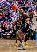 18 December 2019: University of North Carolina Greensboro Spartan Forward James Dickey, a Senior from Raleigh, NC, in second half action against the University of Vermont Catamounts at Patrick Gymnasium in Burlington, Vermont. The Spartans edged out the Catamounts 54-53 in the final minutes of play. Mandatory Credit: Ed Wolfstein Photo *** RAW (NEF) Image File Available ***
