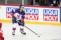 22nd May 2021, Riga Olympic Sports Centre Latvia; 2021 IIHF Ice hockey, Eishockey World Championship, Great Britain versus Russia;  Robert Lachowicz Great Britain looking for a pass