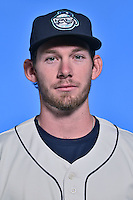 Asheville Tourists pitcher David Hill (34) poses for a photo at Story Point Media on April 5, 2016 in Asheville, North Carolina. (Tony Farlow/Four Seam Images)