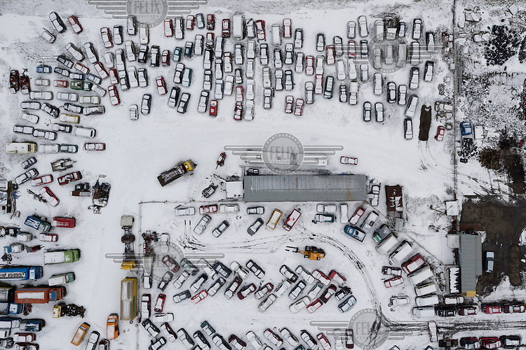 A snow covered scrap heap in Gdansk.