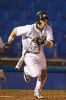 Michigan Wolverines third baseman John Lorenz #6 at bat during a game against the Pittsburgh Panthers at the Big Ten/Big East Challenge at Florida Auto Exchange Stadium on February 18, 2012 in Dunedin, Florida.  (Mike Janes/Four Seam Images)