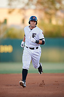 Florida Fire Frogs catcher Alex Jackson (25) running the bases during a game against the Dunedin Blue Jays on April 10, 2017 at Osceola County Stadium in Kissimmee, Florida.  Florida defeated Dunedin 4-0.  (Mike Janes/Four Seam Images)