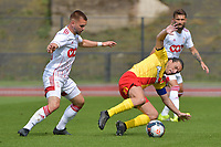 Yannick Cahuzac (18) of Rc Lens and Nicolas Raskin (26) of Standard de Liege  pictured during a friendly soccer game between Racing Club De Lens and Standard de Liege  during the preparations for the 2021-2022 season , on wednesday 7 of July 2021 in Billy Montigny , France . PHOTO DIRK VUYLSTEKE   SPORTPIX