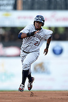 Mahoning Valley Scrappers first baseman Leo Castillo (29) running the bases during a game against the Batavia Muckdogs on August 24, 2014 at Dwyer Stadium in Batavia, New York.  Mahoning Valley defeated Batavia 7-6.  (Mike Janes/Four Seam Images)
