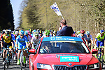 Christian Prudhomme ASO waves the flag for the start of the 116th edition of Paris-Roubaix 2018. 8th April 2018.<br /> Picture: ASO/Pauline Ballet | Cyclefile<br /> <br /> <br /> All photos usage must carry mandatory copyright credit (© Cyclefile | ASO/Pauline Ballet)