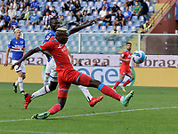23rd September 2021; G.Ferraris Stadium, Genoa, Italy; Serie A football, Sampdoria versus Napoli : Victor Osimhen of Napoli  shoots and scores for 1 - 0 in 10th minute