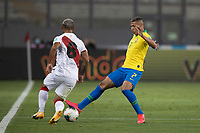 13th October 2020; National Stadium of Peru, Lima, Peru; FIFA World Cup 2022 qualifying; Peru versus Brazil; Miguel Trauco of Peru tackled by Richarlison of Brazil
