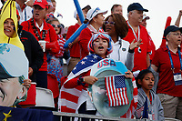 5th September 2021; Toledo, Ohio, USA;  Fans gather to watch and cheer at the first tee during the morning Four-Ball competition during the Solheim Cup on September 5th