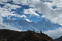 Mani stones, stupas and Everest, Lhotse, Nuptse in the background, Nepal