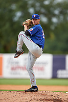 Pitcher Robbie Peto (21) of Monroe Township High School in Monroe Township, New Jersey playing for the Texas Rangers scout team during the East Coast Pro Showcase on July 28, 2015 at George M. Steinbrenner Field in Tampa, Florida.  (Mike Janes/Four Seam Images)