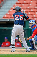 Pawtucket Red Sox outfielder Bryce Brentz #25 during the second game of a doubleheader against the Buffalo Bisons on April 25, 2013 at Coca-Cola Field in Buffalo, New York.  Buffalo defeated Pawtucket 4-0.  (Mike Janes/Four Seam Images)
