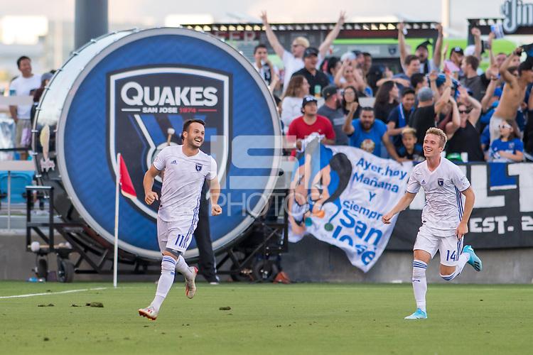SAN JOSÉ CA - JULY 27: Vako #11 celebrates his goal during a Major League Soccer (MLS) match between the San Jose Earthquakes and the Colorado Rapids on July 27, 2019 at Avaya Stadium in San José, California.
