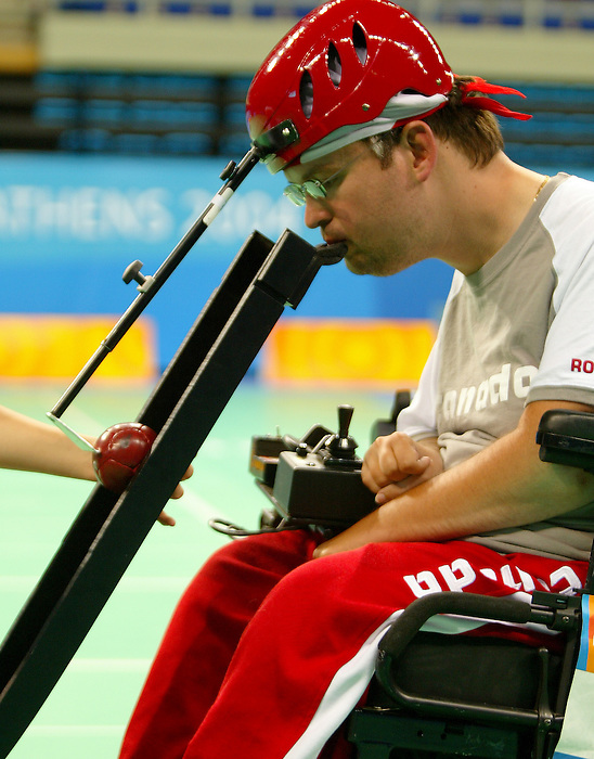 Paul Gauthier from Vancouver Bc, won the gold today in boccia.<br /> (Benoit Pelosse photographe)