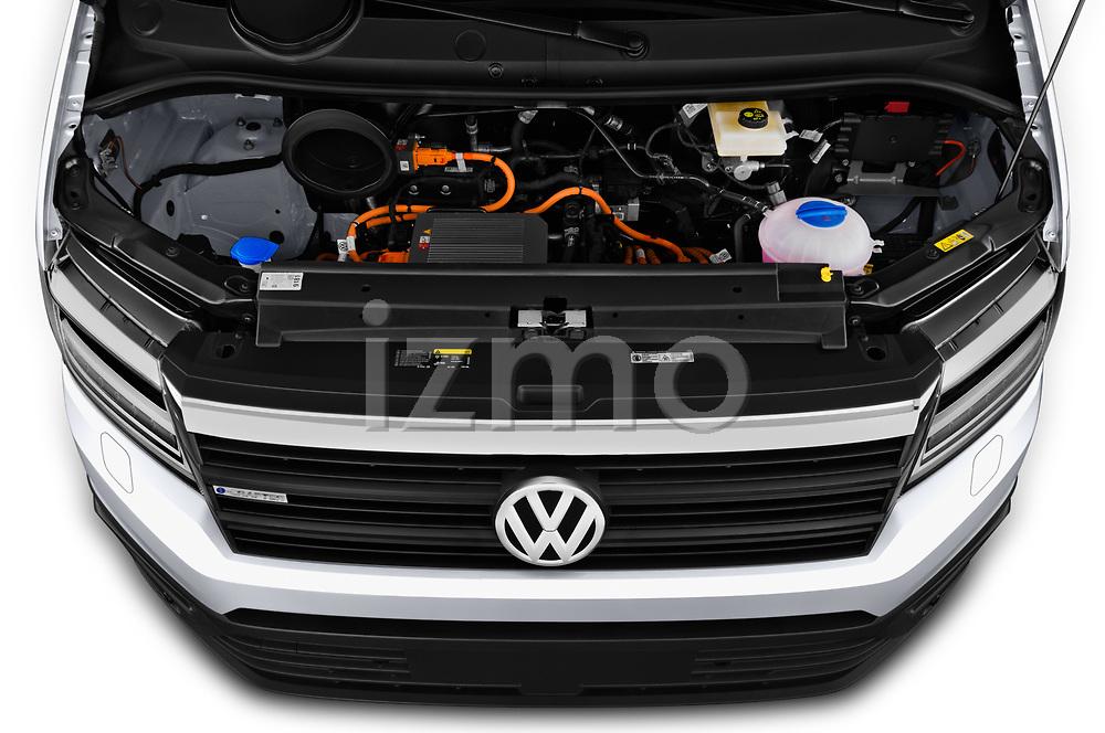 Car Stock 2020 Volkswagen Crafter e-Crafter 4 Door Cargo Van Engine  high angle detail view