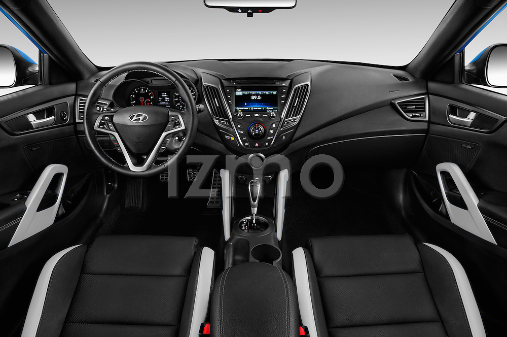Stock photo of straight dashboard view of 2016 Hyundai Veloster 1.6-Turbo-Manual 4 Door Hatchback Dashboard