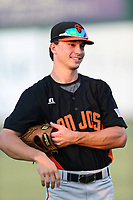 Bryan Reynolds (9) of the San Jose Giants before a game against the Inland Empire 66ers at LoanMart Field on August 30, 2017 in San Bernardino California. San Jose defeated Inland Empire, 3-0. (Larry Goren/Four Seam Images)
