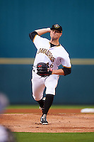 Bradenton Marauders starting pitcher Buddy Borden (46) during a game against the Palm Beach Cardinals on August 9, 2016 at McKechnie Field in Bradenton, Florida.  Palm Beach defeated Bradenton 8-7.  (Mike Janes/Four Seam Images)
