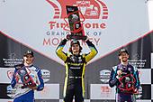 #26: Colton Herta, Andretti Autosport w/ Curb-Agajanian Honda, #10: Alex Palou, Chip Ganassi Racing Honda, #51: Romain Grosjean, Dale Coyne Racing with RWR Honda, victory lane, podium