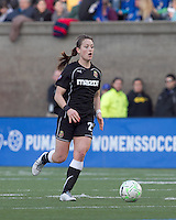 Western New York Flash midfielder Brittany Bock (21) at midfield. In a Women's Professional Soccer (WPS) match, the Western New York Flash defeated the Boston Breakers, 2-1, at Harvard Stadium on April 17, 2011.