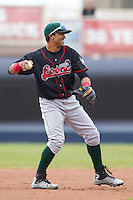 Great Lakes Loons second baseman Jesmuel Valentin #22 throws during a game against the Quad Cities River Bandits at Modern Woodmen Park on April 29, 2013 in Davenport, Iowa. (Brace Hemmelgarn/Four Seam Images)