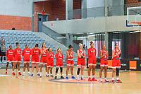 team Puerto Rico ( Alahna Smith (2), India Pagan (33) , Gabby Zapata (32) , Sabrina Lozada-Cabage (28) , Isalys Quinones (25) , Dayshalee Salaman (12) , Jada Stinson (10) , Alison Gibson (9) , Denise Solis (7) , Alahna Smith (2) , Tayra Melendez (1) ) pictured before a basketball game between the national teams of Puerto Rico and Serbia on Sunday 30 th of May 2021 in Kortrijk , Belgium . PHOTO SPORTPIX.BE | SPP | STIJN AUDOOREN