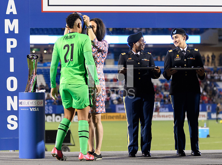 FRISCO, TX - MARCH 11: Adrianna Franch #21 of the United States receives her medal during a game between Japan and USWNT at Toyota Stadium on March 11, 2020 in Frisco, Texas.
