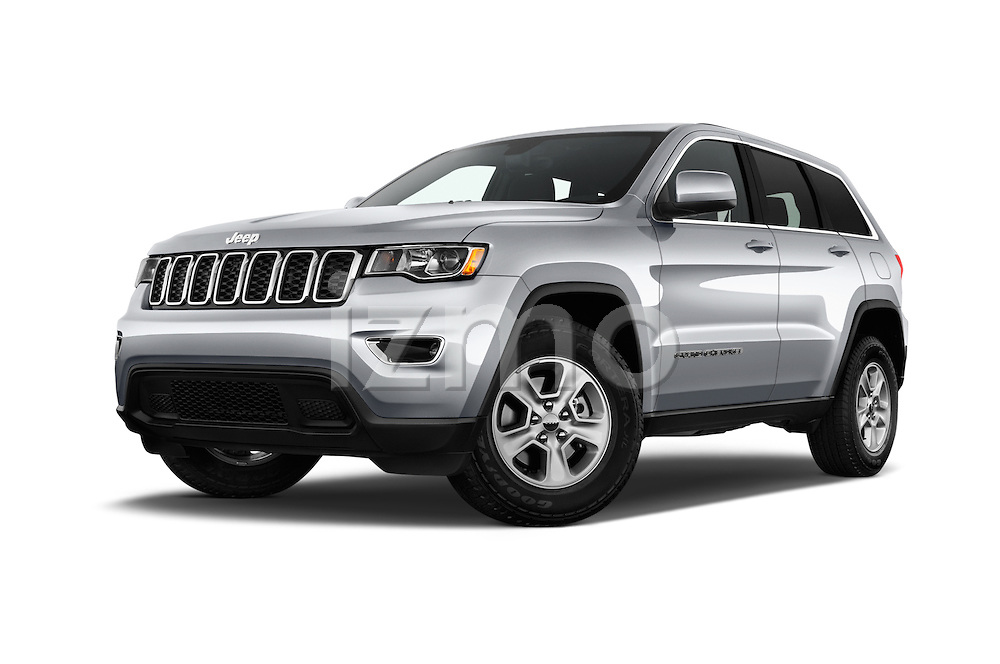 Stock pictures of low aggressive front three quarter view of 2017 JEEP Grand-Cherokee Laredo 5 Door SUV Low Aggressive