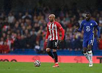 2nd October 2021; Stamford Bridge, Chelsea, London, England; Premier League football Chelsea versus Southampton; Nathan Redmond of Southampton as Rudiger closes in