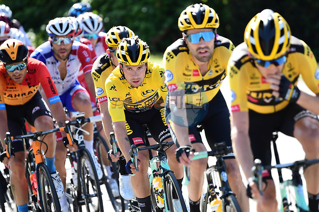 The peloton with race leader Primoz Roglic (SLO) Team Jumbo-Visma during Stage 4 of Criterium du Dauphine 2020, running 157km from Ugine to Megeve, France. 15th August 2020.<br /> Picture: ASO/Alex Broadway | Cyclefile<br /> All photos usage must carry mandatory copyright credit (© Cyclefile | ASO/Alex Broadway)