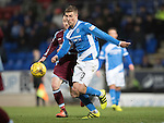 St Johnstone v Stenhousemuir…21.01.17  McDiarmid Park  Scottish Cup<br />David Wotherspoon is closed down by Vincent Berry<br />Picture by Graeme Hart.<br />Copyright Perthshire Picture Agency<br />Tel: 01738 623350  Mobile: 07990 594431