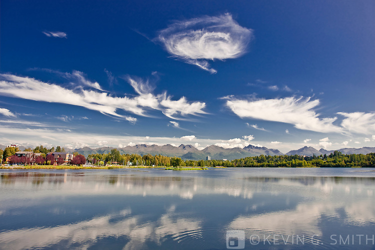 View over the Westchester lagoon, Chugach Mountains in  the background, summer, Southcental Alaska, USA.