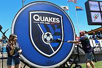 SAN JOSE, CA - JUNE 8: San Jose Earthquakes fans bang a drum during a game between FC Dallas and San Jose Earthquakes at Avaya Stadium on June 8, 2019 in San Jose, California.