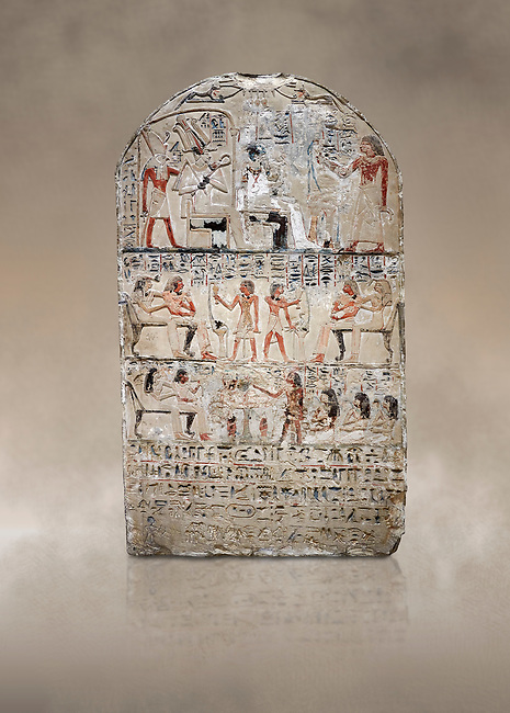 """Ancient Egyptian stele of s standard bearer Maienhekau, limestone, New Kingdom, 18th Dynasty, (1458-1425 BC), DAbydos,  Egyptian Museum, Turin. <br /> <br /> In the top registerMaienhekau makes offerings to Ptah, Osiris and Horus. In the middle he is shown with his wife reveiving offerings from his 2 sons. In the lower register another son with 3 gaughters is offering a formula to Maienhekau, also listing his titles. He was standard bearer (captain) on several warships and the """"bearer of arms """" of Thutmosis II. The current depictions are over an earlier relief which can be seen in places where the later stucco has come away."""
