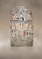 "Ancient Egyptian stele of s standard bearer Maienhekau, limestone, New Kingdom, 18th Dynasty, (1458-1425 BC), DAbydos,  Egyptian Museum, Turin. <br /> <br /> In the top registerMaienhekau makes offerings to Ptah, Osiris and Horus. In the middle he is shown with his wife reveiving offerings from his 2 sons. In the lower register another son with 3 gaughters is offering a formula to Maienhekau, also listing his titles. He was standard bearer (captain) on several warships and the ""bearer of arms "" of Thutmosis II. The current depictions are over an earlier relief which can be seen in places where the later stucco has come away."