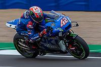 27th August 2021; Silverstone Circuit, Silverstone, Northamptonshire, England; MotoGP British Grand Prix, Practice Day; Team Suzuki Ecstar rider Alex Rins on his Suzuki GSX-RR