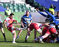 6th February 2021; Recreation Ground, Bath, Somerset, England; English Premiership Rugby, Bath versus Harlequins; Danny Care of Harlequins kicks from the ruck under pressure from Ben Spencer of Bath