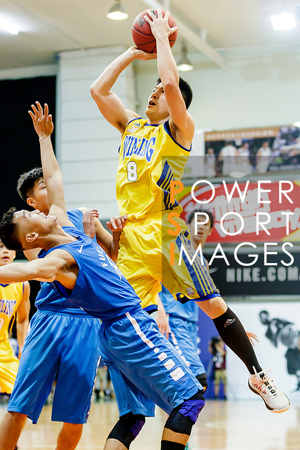 Lau CHi Kin #8 of Winling Basketball Club tries to score against the Fukien during the Hong Kong Basketball League game between Winling and Fukien at Southorn Stadium on May 29, 2018 in Hong Kong. Photo by Yu Chun Christopher Wong / Power Sport Images