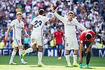 Real Madrid's player Toni Kroos, Danilo Luiz Da Silva and Mateo Kovacic celebrating a goal during a match of La Liga Santander at Santiago Bernabeu Stadium in Madrid. September 10, Spain. 2016. (ALTERPHOTOS/BorjaB.Hojas)