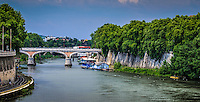 Fine, Art, Landscape Print, Photograph, of the Tiber, River. The curved road and colourful blue sky Frame the bridge,