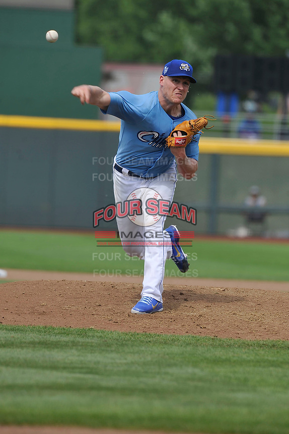 Omaha Storm Chasers pitcher Kevin Lenik (11) throws a pitch against the Oklahoma City Dodgers at Werner Park on June 24, 2018 in Omaha, Nebraska. Omaha won 8-0.  (Dennis Hubbard/Four Seam Images)