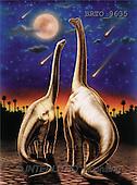 Alfredo, FANTASY, paintings, 2 dinosaurs, moon, BRTO, BRTO9635,#fantasy# illustrations, pinturas