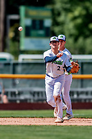 3 September 2018: Vermont Lake Monsters infielder Jonah Bride gets the 3rd out of the second inning against the Tri-City ValleyCats at Centennial Field in Burlington, Vermont. The Lake Monsters defeated the ValleyCats 9-6 in the last game of the 2018 NY Penn League regular season. Mandatory Credit: Ed Wolfstein Photo *** RAW (NEF) Image File Available ***
