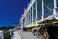 carriage tours, Grand Hotel, Mackinac Island, MI, Lake Huron, Michigan, Carriage rides in front of the Historic Grand Hotel on Mackinac Island.