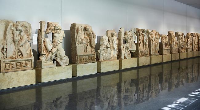 Interior of Aphrodisias Museum, showing Roman Sebasteion relief sculptures,   Aphrodisias, Turkey.