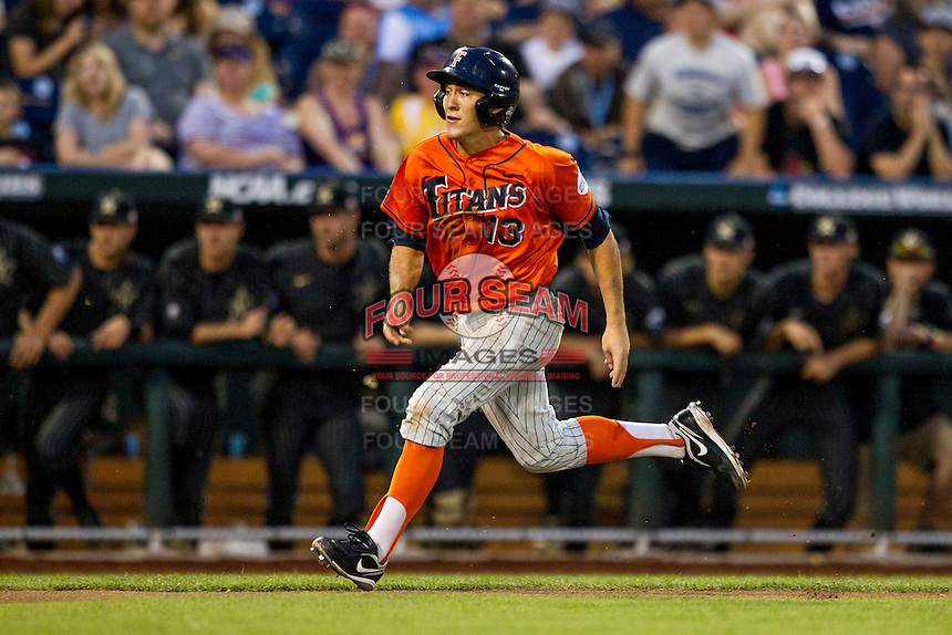 Cal State Fullerton Titans shortstop Timmy Richards (13) sprints towards home plate during the NCAA College baseball World Series against the Vanderbilt Commodores on June 14, 2015 at TD Ameritrade Park in Omaha, Nebraska. The Titans were leading 3-0 in the bottom of the sixth inning when the game was suspended by rain. (Andrew Woolley/Four Seam Images)