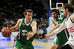 Real Madrid´s Andres Nocioni and Unicaja´s Ryan Toolson during 2014-15 Liga Endesa match between Real Madrid and Unicaja at Palacio de los Deportes stadium in Madrid, Spain. April 30, 2015. (ALTERPHOTOS/Luis Fernandez)