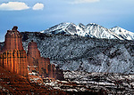 Fisher Towers with view of La Sal Mountains near Moab, UT