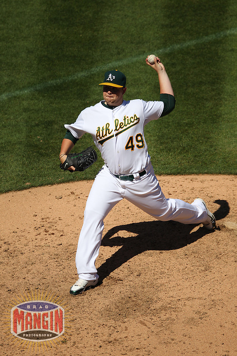 OAKLAND, CA - SEPTEMBER 6:  Brett Anderson #40 of the Oakland Athletics pitches against the Seattle Mariners during the game at the Oakland-Alameda County Coliseum on September 6, 2010 in Oakland, California. Photo by Brad Mangin