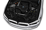 Car stock 2018 BMW 5 Series 530i 4 Door Sedan engine high angle detail view